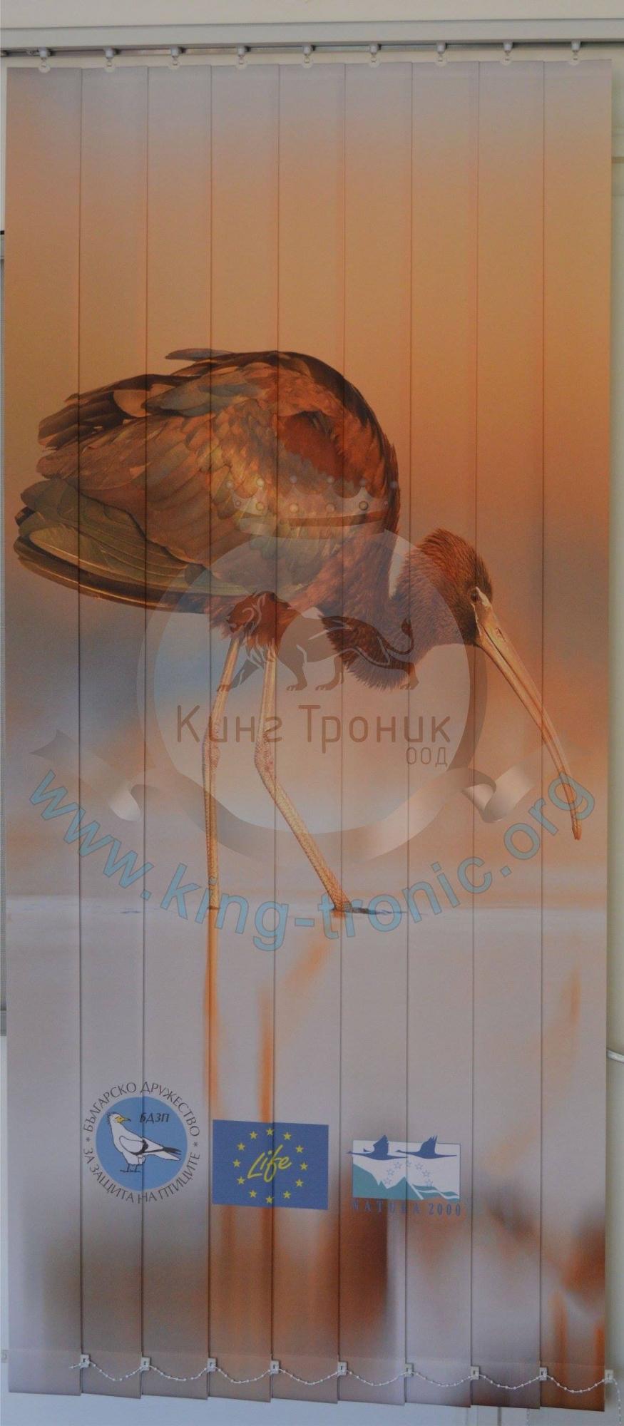 Вертикална фото щора - Индивидуален проект - Блестящ ибис - Бургас!